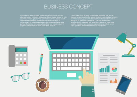 working place: Interior of working place concept in flat design Illustration