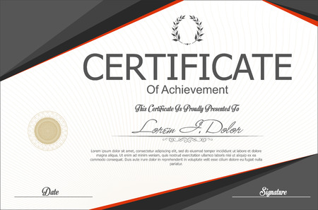 an achievement: Certificate or diploma template