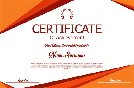 orange swirl: Certificate or diploma template