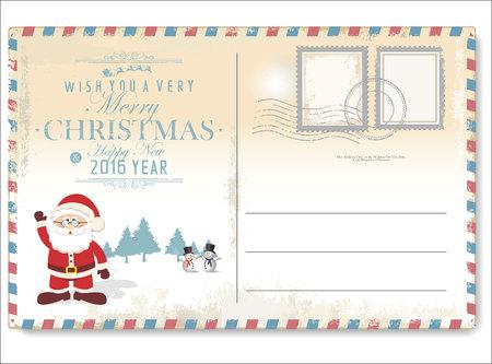 Vintage Christmas letter to Santa Claus Illustration
