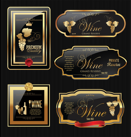 Golden wine label collection