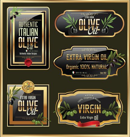 extra virgin olive oil: Olive gold and black banner collection