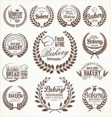 Bakery laurel wreath retro labels