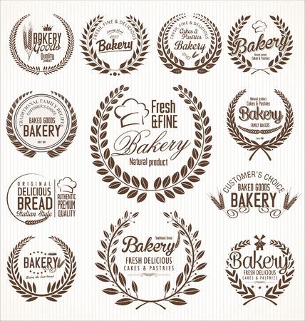 Laurier de boulangerie wreath rétro étiquettes Banque d'images - 48360792