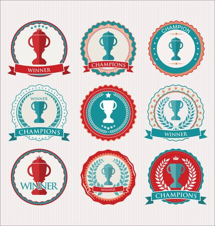 medal: award design retro elements blue and red collection
