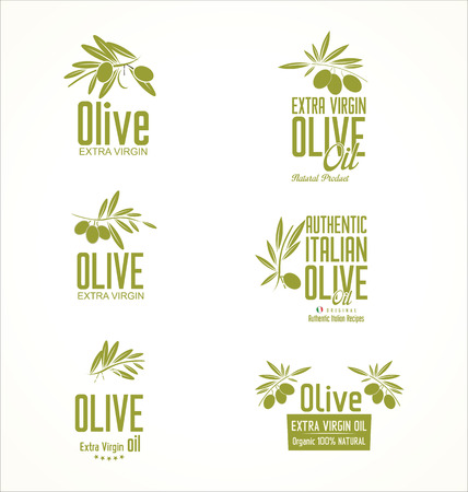 olivo arbol: Oliva etiquetas de aceite y elementos de diseño Vectores