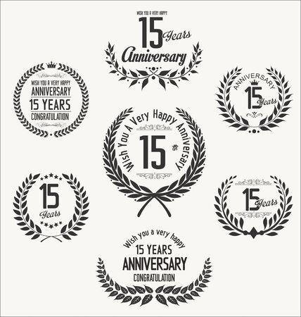 15: Anniversary laurel wreath 15 years Illustration