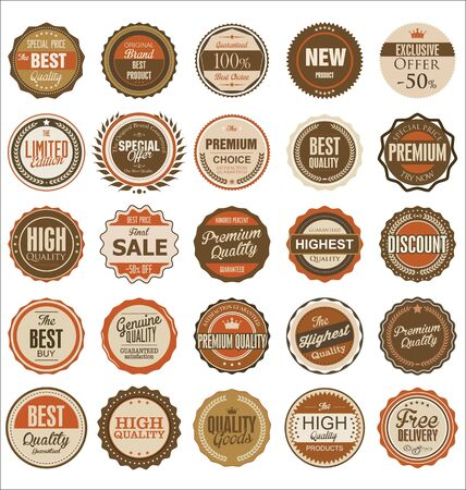 circle icon: Premium, quality retro vintage labels collection