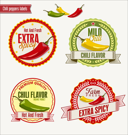 the label the market: Red hot chili peppers vector Illustration