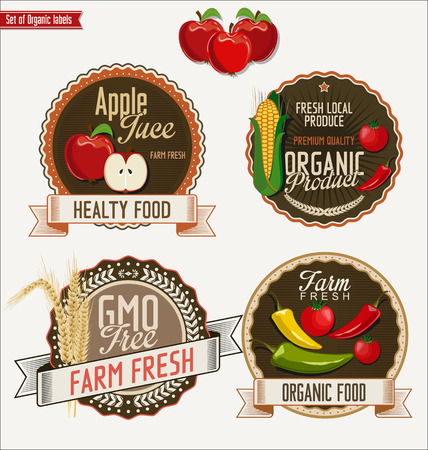 fresh food: Set of Organic labels