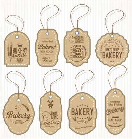 tags: Collection of vintage bakery labels