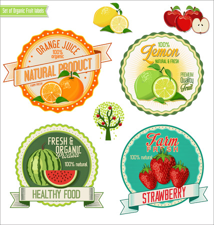 strawberry tree: Set of Fresh and Organic labels