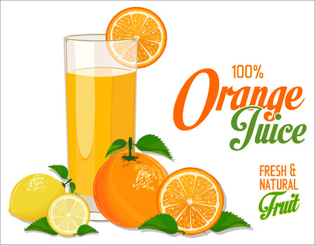 orange juice: Orange juice and slices of orange and lemon Illustration