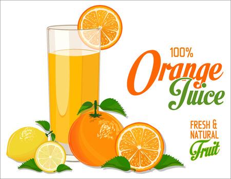 close up food: Orange juice and slices of orange and lemon Illustration