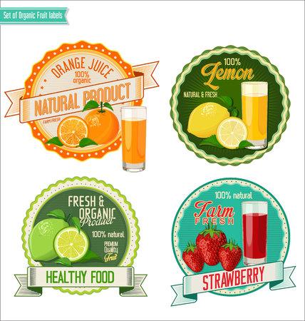 badge vector: Set of organic fruit labels