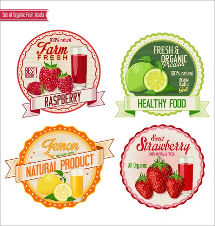 strawberry tree: Set of organic fruit labels