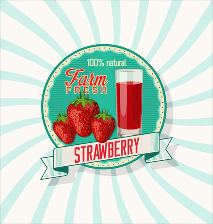 sap: Fresh strawberry and juice glass background