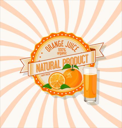 fruit juice: Orange juice and slices of orange background