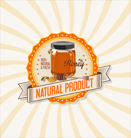 label design: Honey retro vintage background