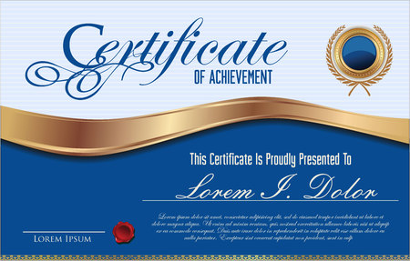 diploma: Blue certificate or diploma template Illustration