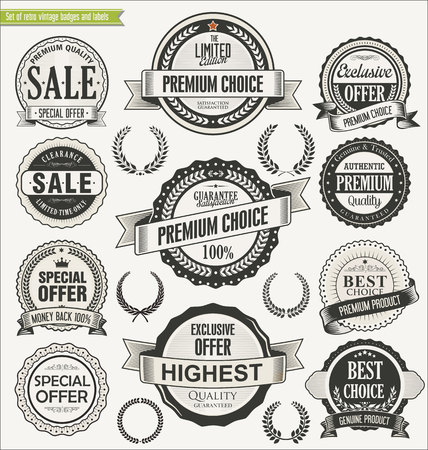 Retro badges collection Stock Illustratie