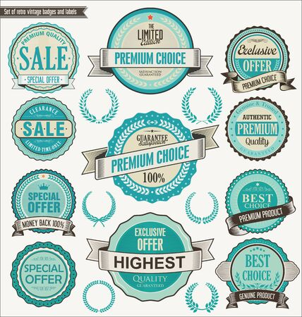 retro style: Retro vintage blue badge and labels collection Illustration