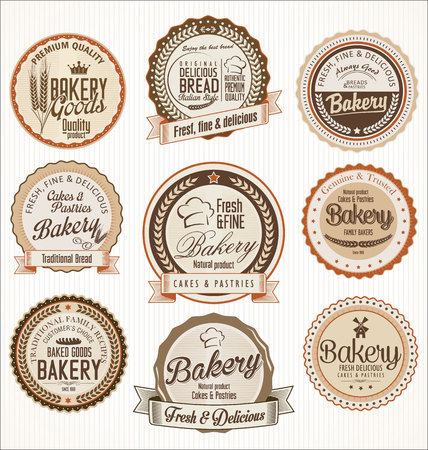 fresh bakery: Set of vintage bakery labels
