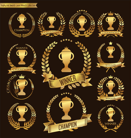 Trophy and awards laurel wreath collection Illustration