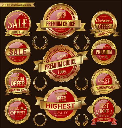 Golden retro badges and labels collection