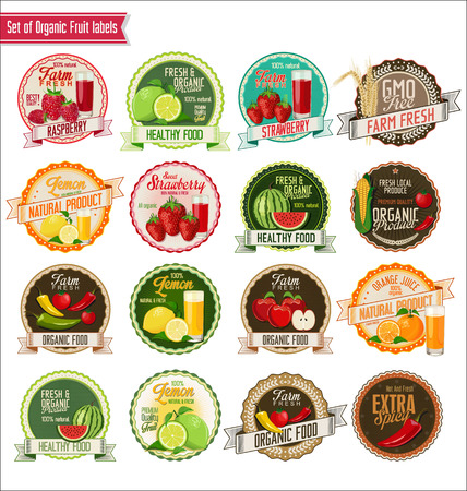 orange juice: Set of organic fruit and vegetables labels collection