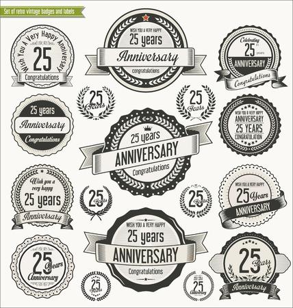 25: Anniversary retro badges collection Illustration