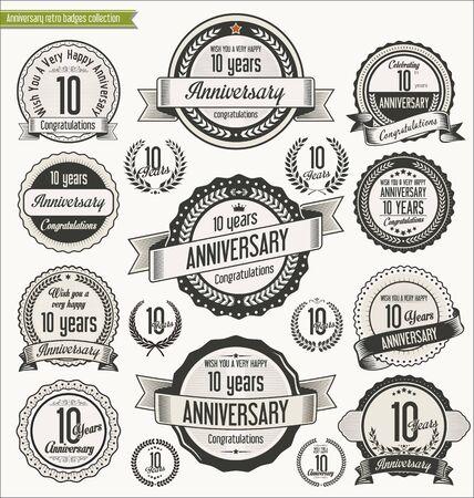 ten years jubilee: Anniversary retro badges collection Illustration