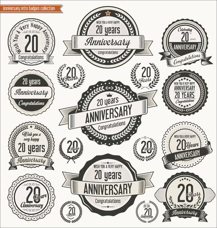20th: Anniversary retro badges collection Illustration