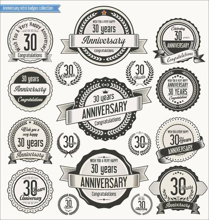 30th: Anniversary retro badges collection Illustration