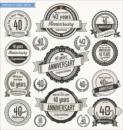 40th: Anniversary retro badges collection Illustration