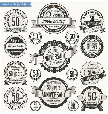 anniversario matrimonio: Anniversario retrò scudetti raccolta Vettoriali