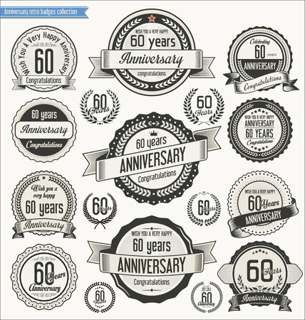 Anniversary retro badges collection Illustration