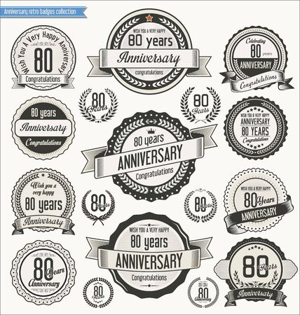 birthday invitation: Anniversary retro badges collection Illustration