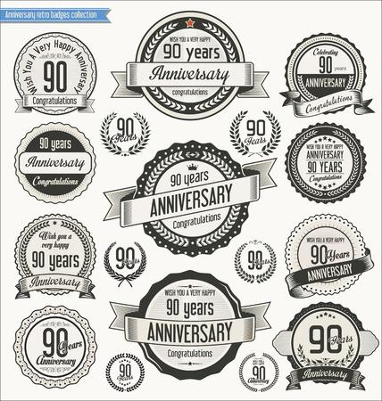 90th: Anniversary retro badges collection Illustration