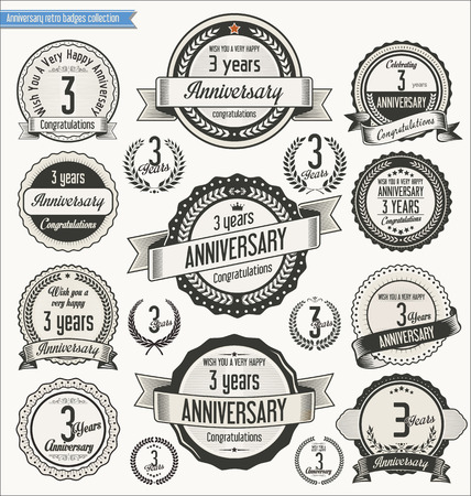 an anniversary: Anniversary retro badges collection Illustration