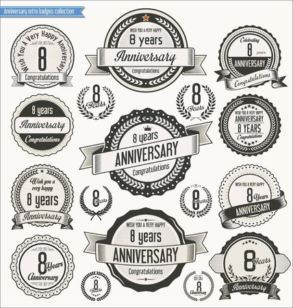 8 years birthday: Anniversary retro badges collection Illustration