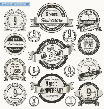 9th: Anniversary retro badges collection Illustration