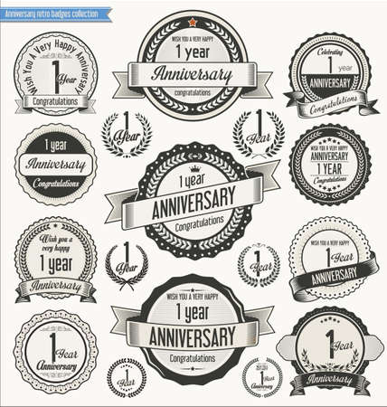 1st birthday: Anniversary retro badges collection Illustration