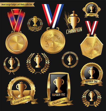 honour: Award golden design badges and labels collection