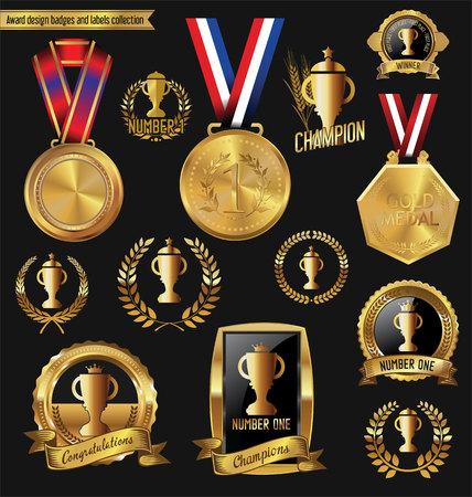 merit: Award golden design badges and labels collection