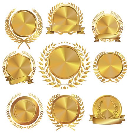 wax glossy: Golden medallion with laurel wreath collection