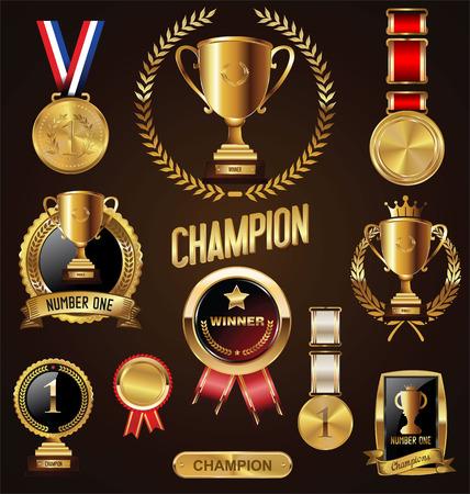 goldmedaille: Gold-Trophäe und Medaille mit Lorbeerkranz Vektor-Illustration
