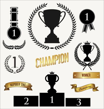 star award: Trophy and awards sign collection Illustration