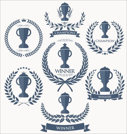wreath collection: Trophy and awards laurel wreath collection Illustration