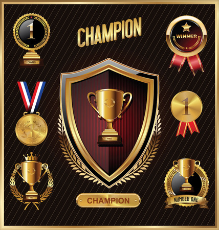 reward: Trophy and awards golden badges and labels collection